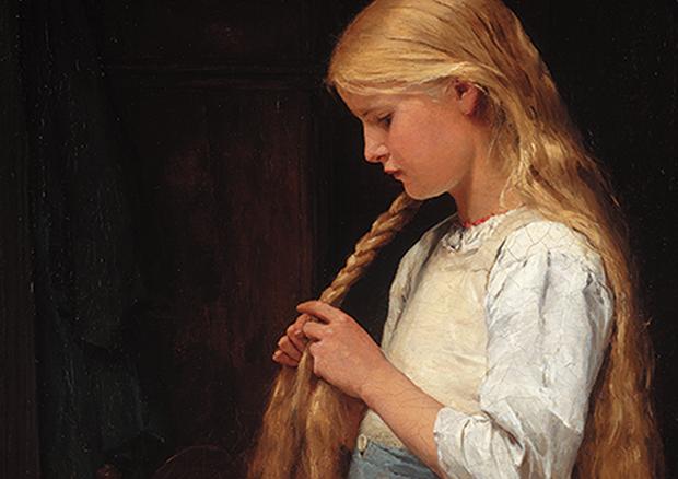 Albert Anker, Mädchen die Haare flechtend,1887,  Stiftung für Kunst, Kultur und Geschichte, Winterthur
